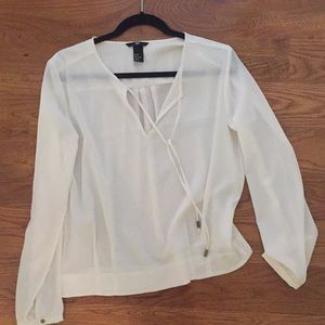H & m white/cream blouse front tie